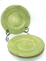 """Tabletops Unlimited RUSTICO Salad Plate Olive Green Set of 3 Hand Painted 8 1/4"""" - $15.62"""
