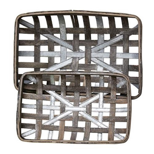 Primary image for TOBACCO BaSKeTS w/MeTaL STRiPS  ~ GRAY WASH ReCTANGLE ~ SeT of 2