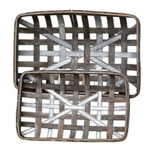 TOBACCO BaSKeTS w/MeTaL STRiPS  ~ GRAY WASH ReCTANGLE ~ SeT of 2 - $48.95