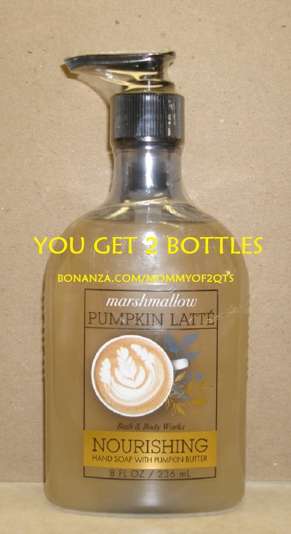 Bbw nourishing hand soap marshmallow pumpkin latte with bonz text