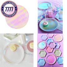 Talking Tables We Heart Pastel Iridescent Shiny Disposable Plates, 12 Co... - $15.53 CAD