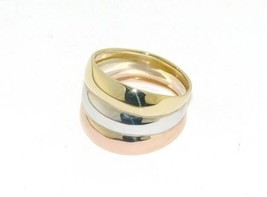 18K ROSE YELLOW WHITE GOLD BAND RING, SMOOTH, BRIGHT, LUMINOUS, MADE IN ITALY image 1