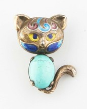 Vintage Silver Cat Enamel & Turquoise Brooch Nice Toning Great Condition - $224.81