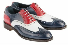 Three Tone Red Black White Premium Leather Wing Tip Rounded Brogue Toe Men Shoes - $139.90+