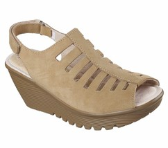48852 Natural Skechers shoe Women wedge heeled casual comfort sandal Mem... - $29.99