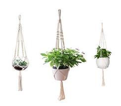 AOMGD 3 Pack Macrame Plant Hanger Indoor Outdoor Hanging Plant Holder Hanging Pl