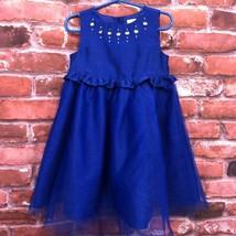 Gymboree 3T Toddler Girl Blue Polyester Satin Tulle Party Dress Gems Emb... - $22.99
