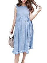 Maternity Dress O Neck Sleeveless Maternity Dress - $32.99