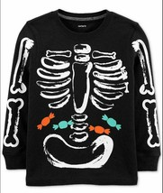 Carter's Black Glow-in-the-Dark Skeleton Bones Candy Halloween Shirt Size 3T - $16.70
