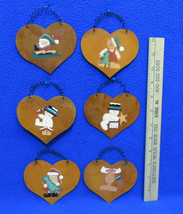 6 Metal Christmas Ornaments Crazy Mountain By Henton Heart Shape Rustic ... - $13.85