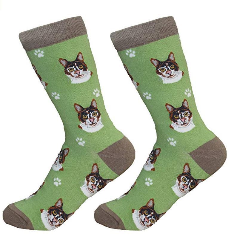 Calico Cat Socks Unisex Dog Cotton/Poly One size fits most