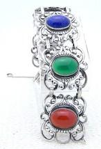 "Vintage Danecraft Sterling Silver Bracelet Glass Stones Repousse Wide 7.25"" - $183.40"