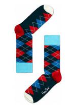 Happy Socks Unisex Combed Cotton Crew Argyle in Navy/Red/White - $10.80