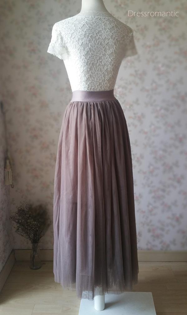 COFFEE High Waisted Plus Size Maxi Skirt Floor Length Bridesmaid Tulle Skirt NWT image 4