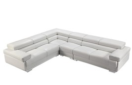 ESF 2119 White Leather Luxury Modular Sectional Sofa Contemporary Modern