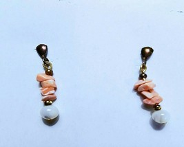 Vintage Pair of Light Salmon Coral Dangle Pierced Earrings, Copper Posts... - $10.00