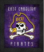 """East Carolina Pirates """"Retro College Logo Map"""" 13x16 Framed Print  - $39.95"""