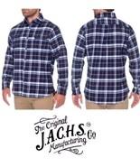 JACHS MFG Men's Brawny Flannel Long Sleeve Button Plaid Shirt Navy  All ... - $19.79