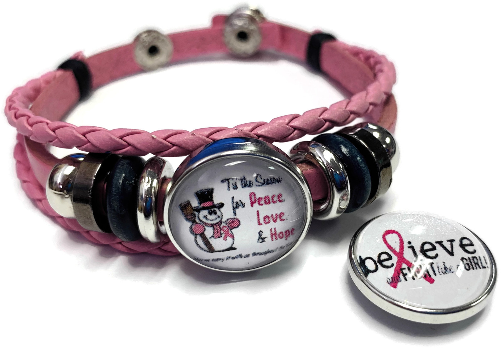 Tis The Season Breast Cancer Snaps Pink Leather Bracelet W/2 Snap Jewelry Charms