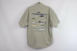 Vintage 90s Columbia Mens Medium Saltwater Gamefish Short Sleeve Fishing Shirt - $29.65