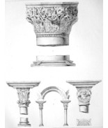 ARCHITECTURE PRINT : ITALY Byzantine Capitals Venice Aosta Details - $13.17
