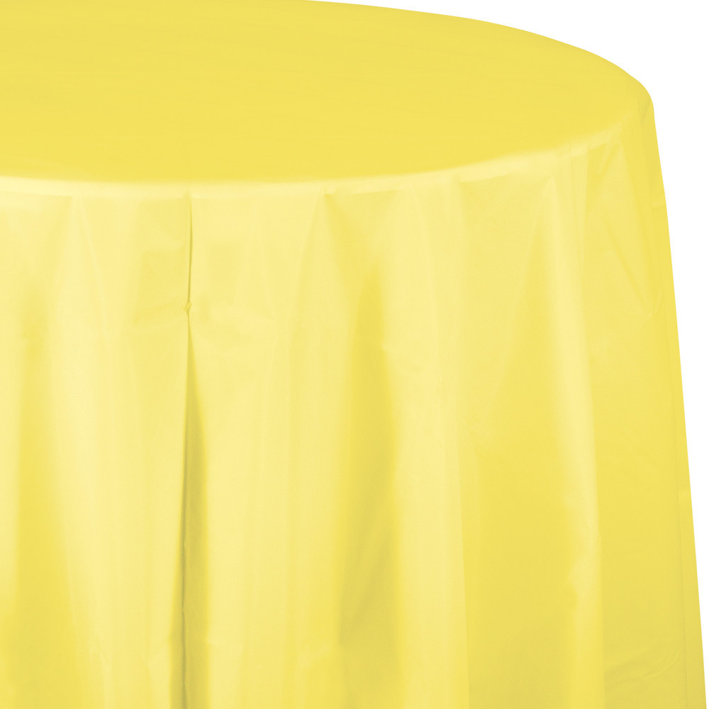 82 inch Plastic OctyRound Tablecover Mimosa/Case of 12