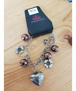916 SILVER CHARMS W/ BROWN BEADS BRACELET (new) - $8.23