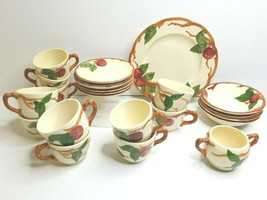 24 LOT Franciscan Apple MCM Plates Cups Saucers Bowls Sugar Red Brown Beige Dish - $74.22