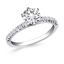 14k White Gold Engagement Ring with Fishtail Diamond Accents - $2,077.50