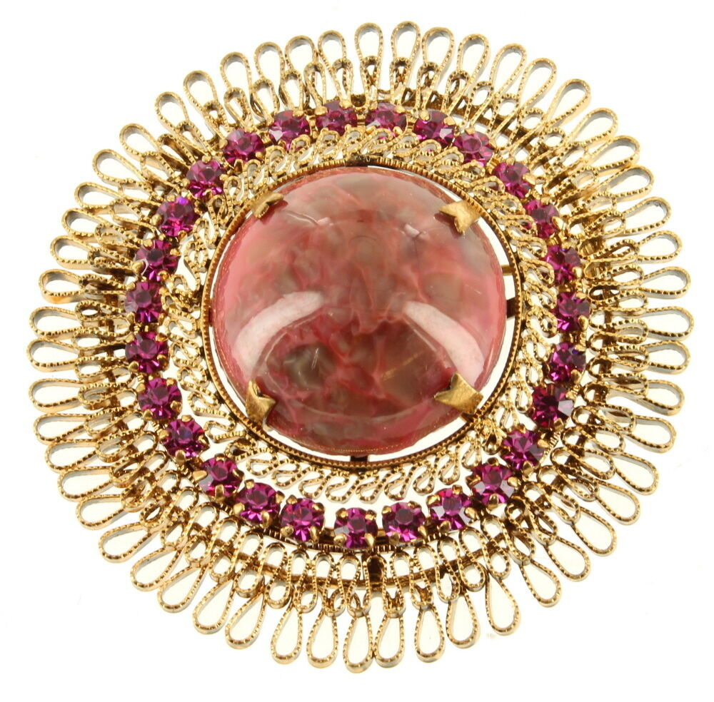 Primary image for VINTAGE AUSTRIA ART GLASS WIRE WORK PINK CABOCHON RHINESTONE STAR BURST PIN WOW!