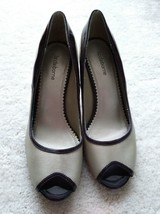 Liz Claiborne Brown / tan peep-toe mid-heel bonded leather upper pumps size 7.5M - $12.19