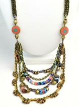 Vanessa Mooney Poppystack Necklace BOHO Multi Tier Strand Multicolor Beads image 2