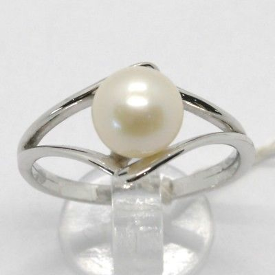 SOLID 18K WHITE GOLD BAND PEARL RING ONDULATE WAVE, EYE, SOLITAIRE MADE IN ITALY