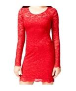 Jump Junior's Long Sleeve Glitter Lace Slim Dress Open Back Red Medium - $25.07