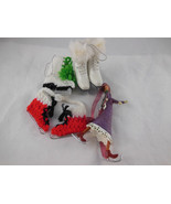 Ice Skating theme Lot of 4 Ornaments Christmas Gifts Girl skater + Skates - $13.16