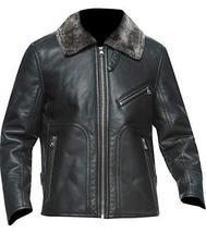 Mens Brando Aviator Fur Collar Army Black Biker Leather Jacket image 1