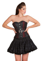 Red Black Brocade & Leather Gothic Waist Training Bustier Overbust Corse... - $69.29