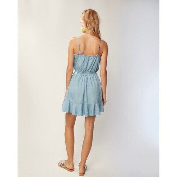 Express Denim Ruffle Front Dress image 3