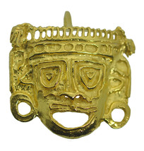 SALE Gold Plated over real sterling silver tribal Mayan American Mask pe... - $32.83