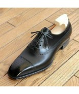 New Handmade Men's Black Leather Dress Shoes, Leather Custom Lace Up Shoes - $159.99