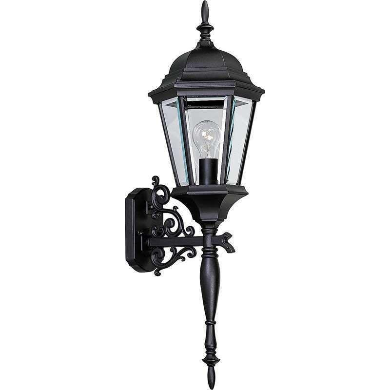 Black Wall Lantern Scroll Arm Clear Outdoor Light Progress Lighting P5684-31