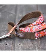 Cosmic Flower Orange Jacquard Dog Leash (120cm, 4ft.) / Made in Japan - $36.00