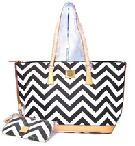 NWT Dooney & Bourke Chevron ZigZag BLACK+WHITE Leisure Tote Bag+Accessories  - $198.00