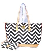 Dooney   bourke chevron zigzag black white leisure tote bag accessories  a253917 thumbtall
