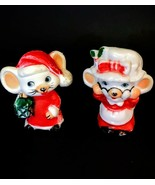Vintage 60's Christmas Santa Mrs. Claus Mice Salt & Pepper Shakers, Hong... - $16.99