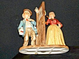 Man and Woman Figurine with God Bless Our Home AA19-1652 Vintage image 6