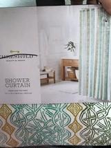 "Threshold Green and Tan Print Aztec Fabric Shower Curtain  72"" x 72"" NWT - $13.49"