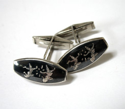 Sterling Silver Cufflinks, signed BH Siam Sterling, Black Niello, 1950's... - $21.50