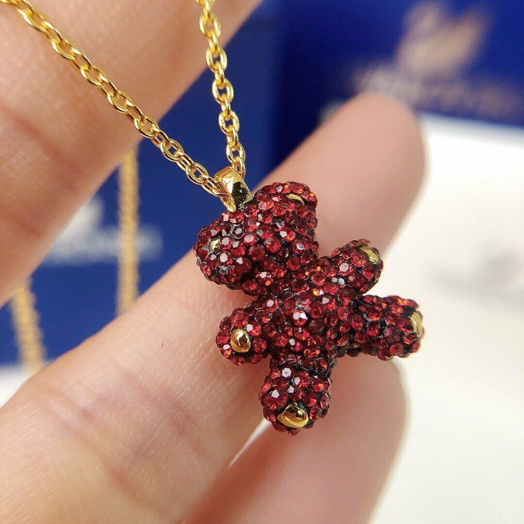 Swarovski Teddy 3D Pendant, Red, RHS Crystal necklace gift with box image 4