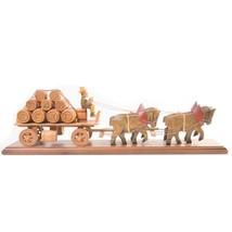 Vintage Woodenware Man on Cart with Horses - Barrels Beer Brewery Wine W... - $67.61